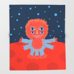 Happy alien character fleece blanket at Society6