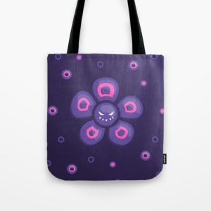Violet evil flower tote bag at Society6