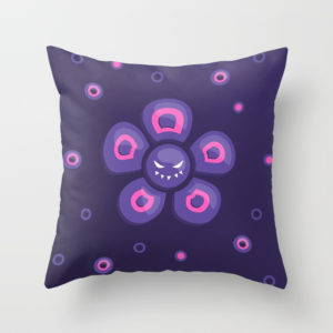 Violet evil flower pillow at Society6
