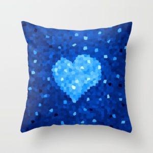 Crystal Blue Heart pillow at Society6