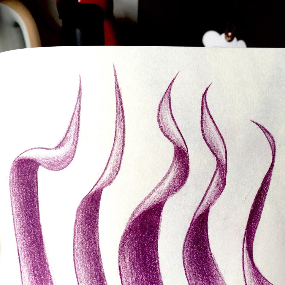 Purple pencil illustration of wavy leaves