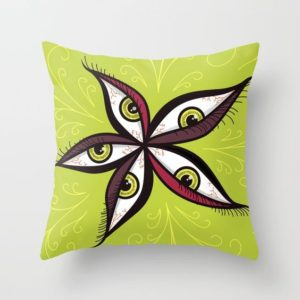 Bizarre illustration with green eyes throw pillow at Society6