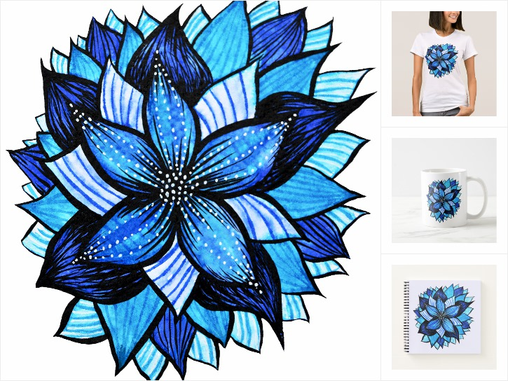 Blue Flower Ink Drawing