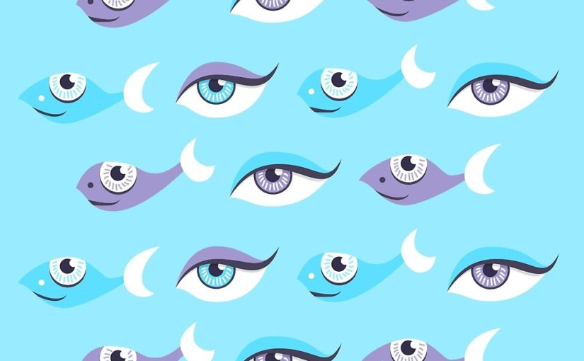 Eyes and fish pattern in blue and purple