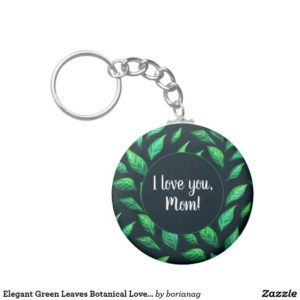 I love you mom customizable botanical keychain at Zazzle