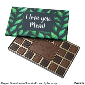I love you mom customizable botanical chocolate box at Zazzle