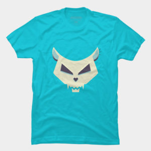 Evil cat skull with heart shaped nose tee at Design By Humans