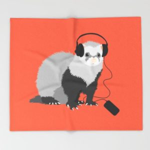 Ferret music lover throw blanket at Society6