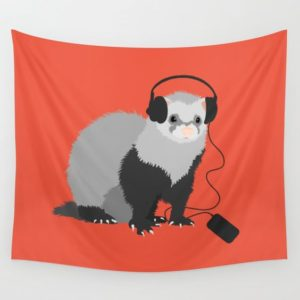 Ferret music lover wall tapestry at Society6