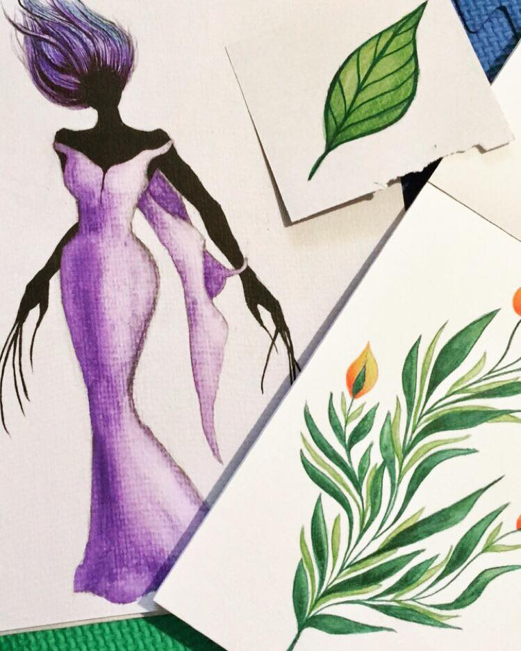 Ink and watercolor sketches from early 2018
