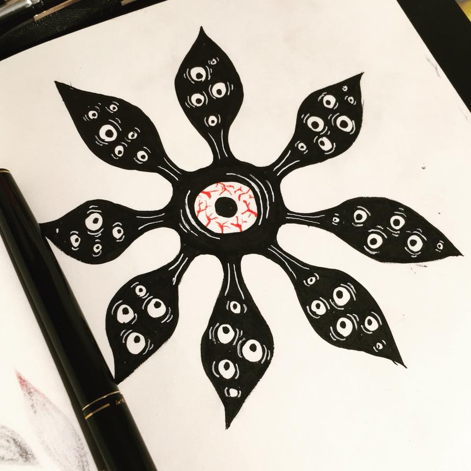 Instagram sketches of weird ink flower with eyes