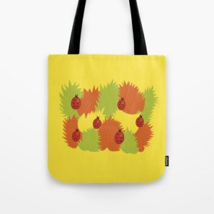 Autumn leaves and ladybugs bag at Society6