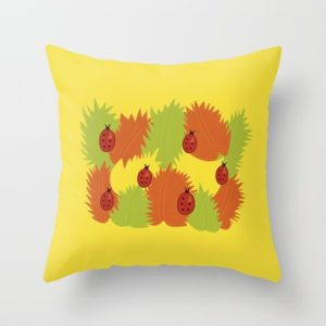 Autumn leaves and ladybugs pillows at Society6