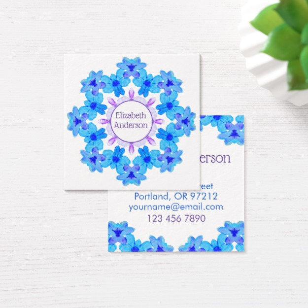 Personalized floral mandala business card at Zazzle