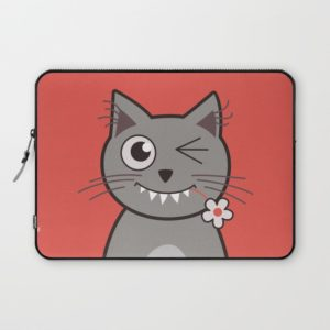 Cat wink cute cartoon kitty laptop sleeve at Society6