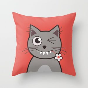Cat wink cute cartoon kitty pillow at Society6