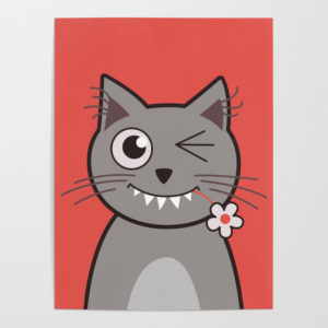 Cat wink cute cartoon kitty poster at Society6