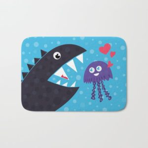 Cartoon jellyfish and sea monster in love bathmat at Society6