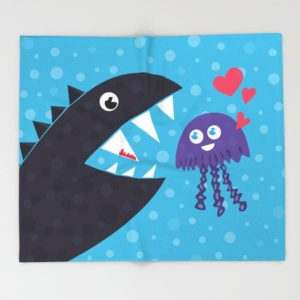 Cartoon jellyfish and sea monster in love blanket at Society6