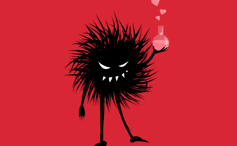 Chemistry art – evil bug monster with love potion