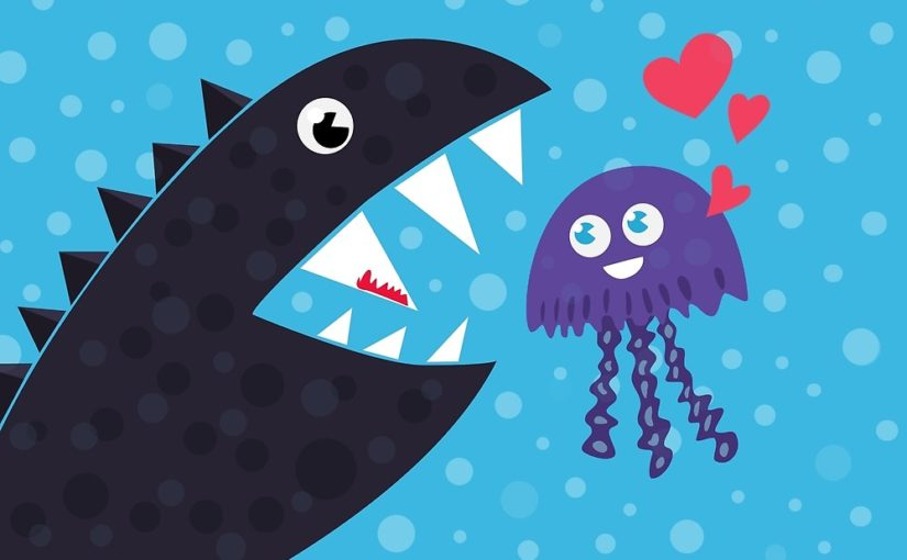 Cartoon jellyfish and sea monster in love