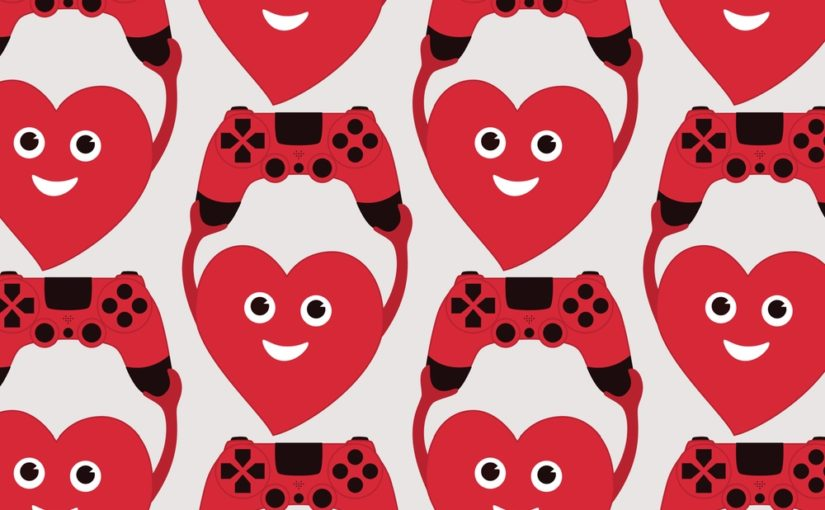 Gamer art – heart with gamepad vector illustration