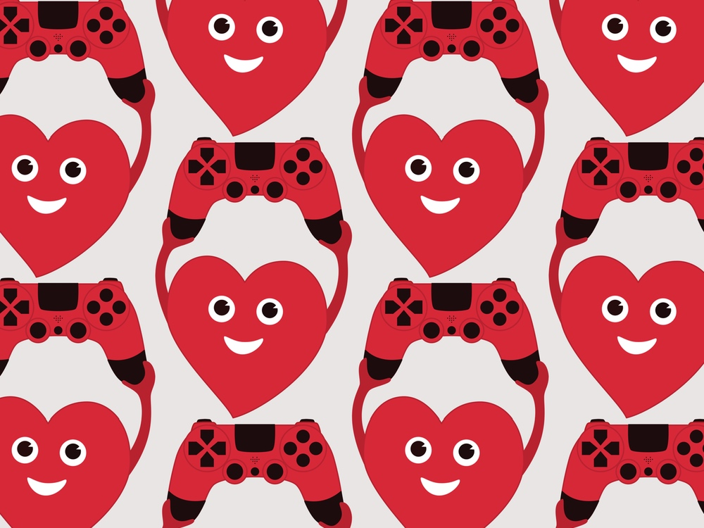 Gamer art - heart with gamepad vector illustration created by Boriana Giormova.
