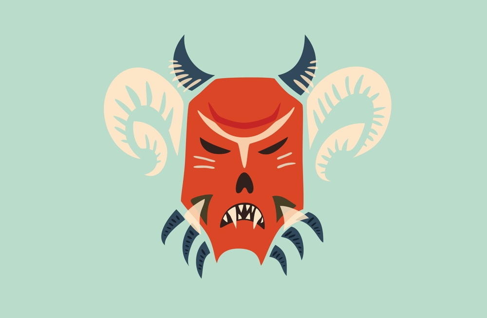 Horned demon mask illustration