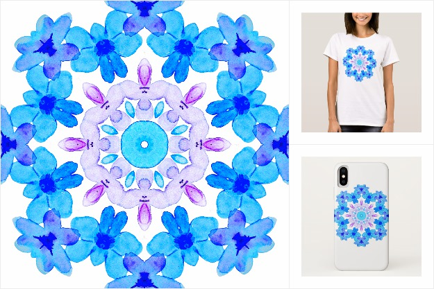 Blue floral watercolor mandala