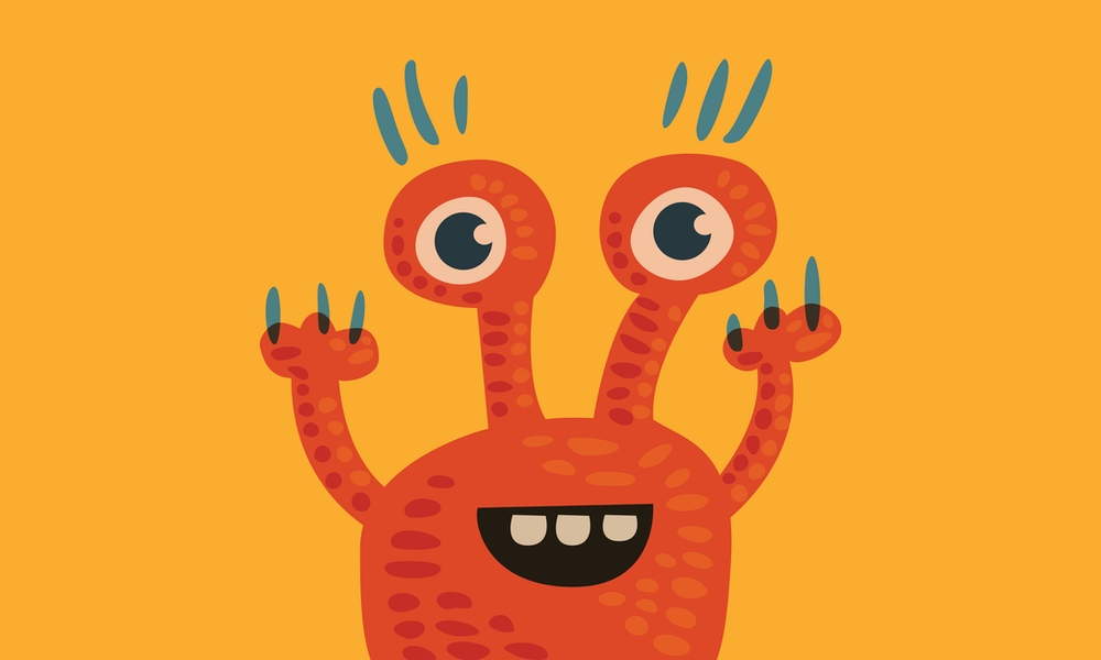 Happy monster orange character