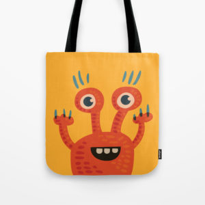 Funny orange monster bag at Society6