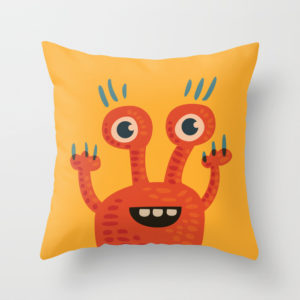 Funny orange monster pillow at Society6