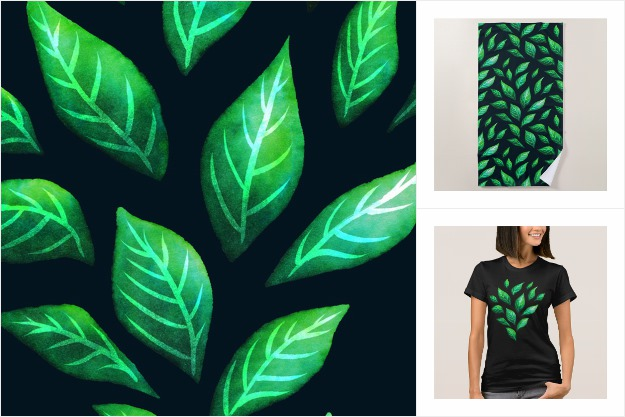 Painted green leaves pattern