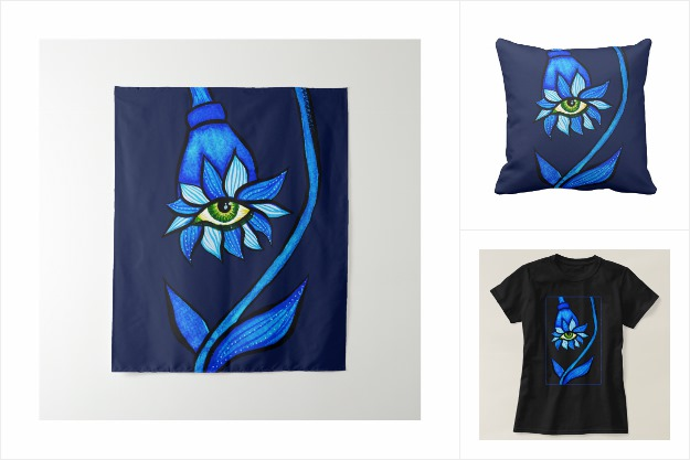 Spooky eye flower in blue