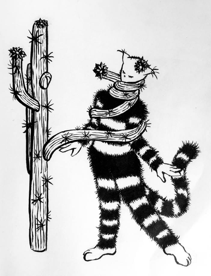 Day 25 of Inktober - prickly - drawing of a cactus wrapping around a weird girly cat