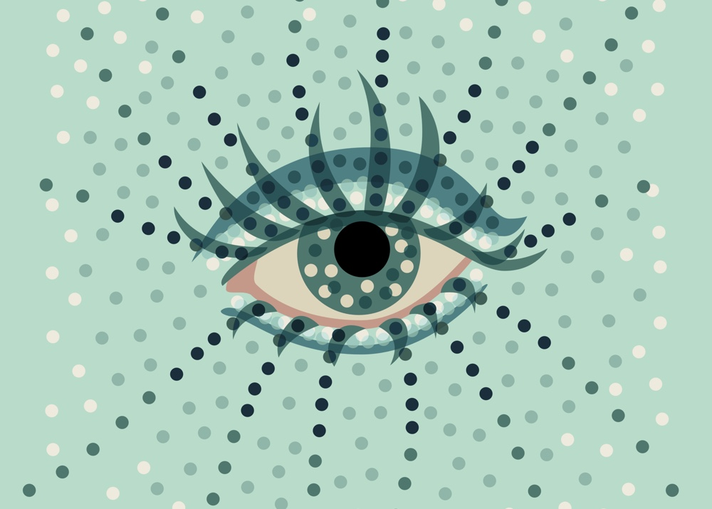 Eye art with dots vector illustration