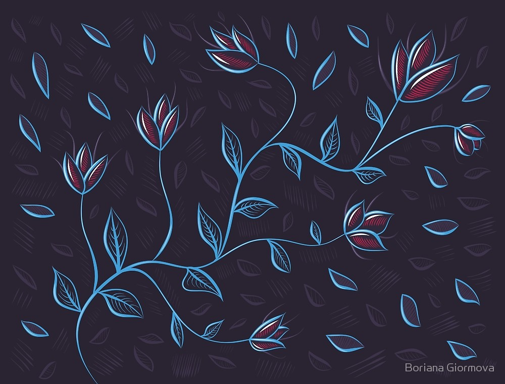 Glowing flowers vector illustration
