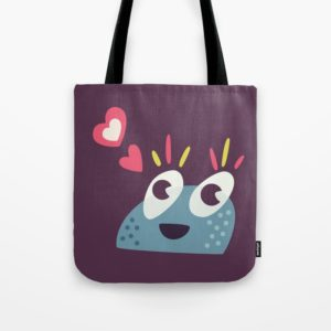 Cute candy creature tote bag at Society6