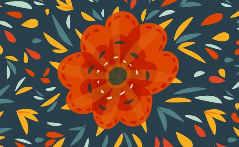 Decorative flower art depicting an orange flower with many geometric colorful elements over dark blue background