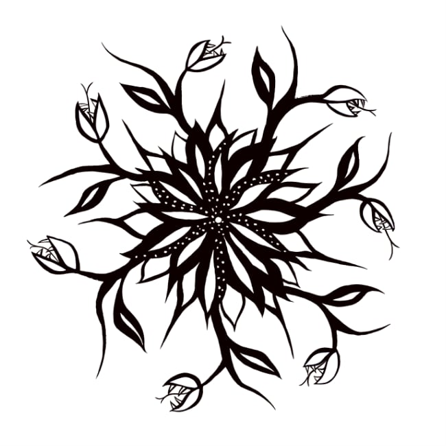 Black and white floral mandala with teeth
