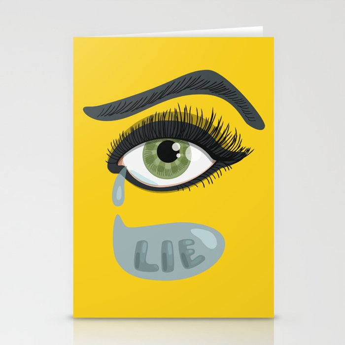 greeting card with typografig design about crying and lies