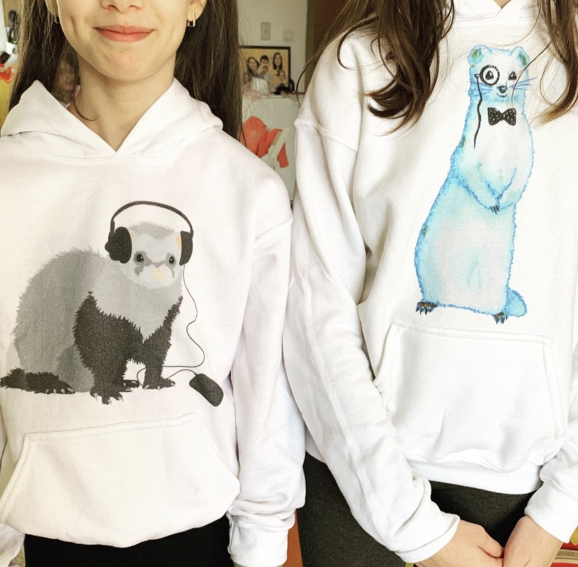 My kids with their funny ferret hoodies bought from my Zazzle store