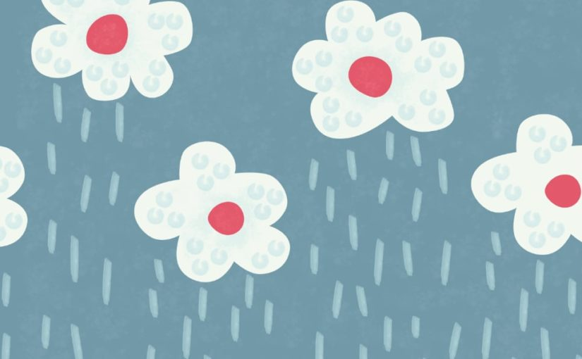 Floral rain clouds rainy weather illustration