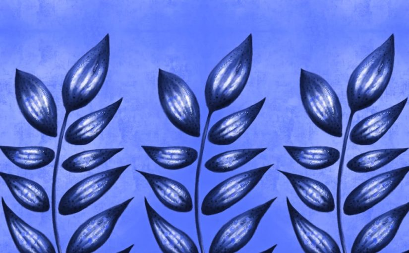 Abstract plant with pointy leaves digital art in blue