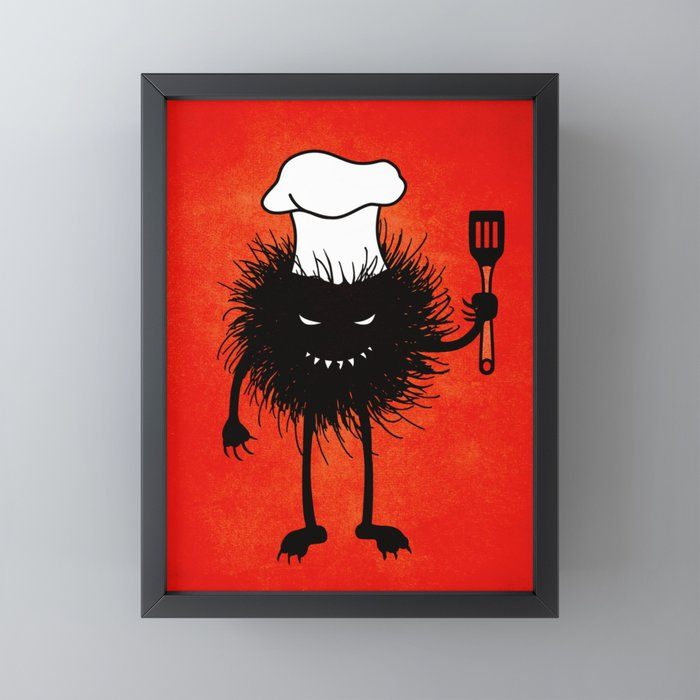 framed mini art print with an evil character with a cooking spatula and chef hat