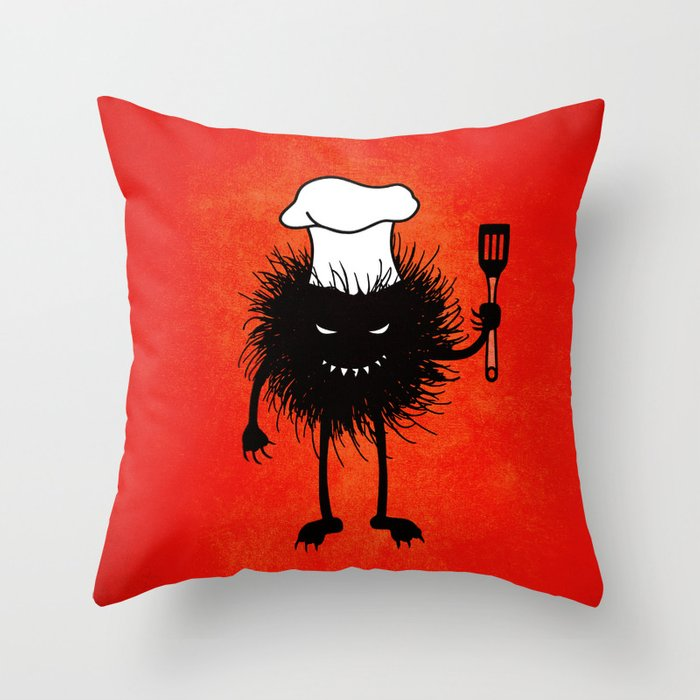 throw pillow with an evil bug