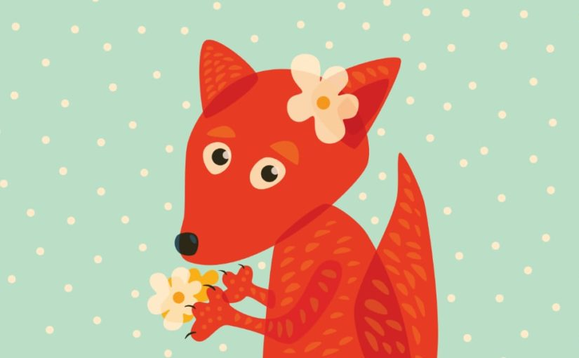 Cute fox with flowers vector illustration