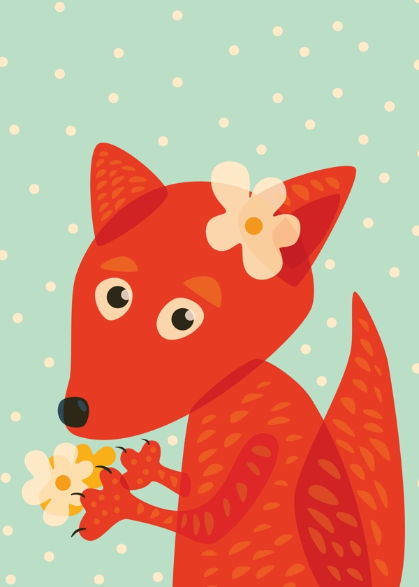 Cute fox with flowers cartoon vector illustration for kids in lovely orange and blue colors