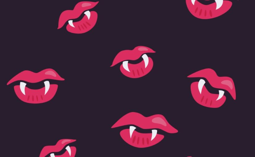 Vampire lips and fangs pattern created for Halloween