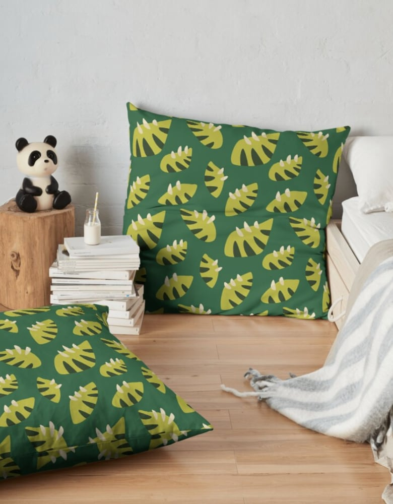 green leaf pattern floor pillow